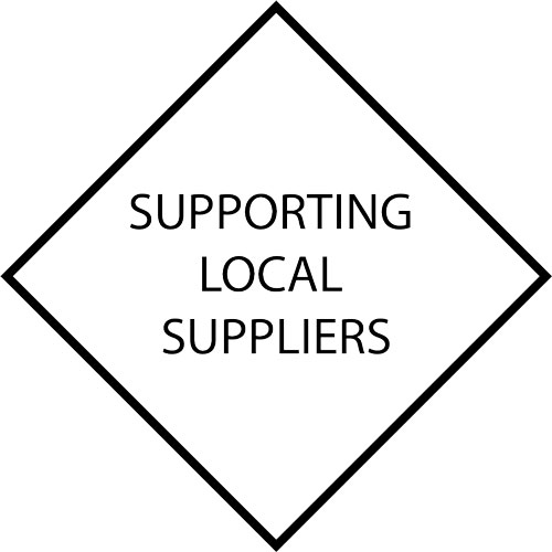 support local suppliers decal in black and white
