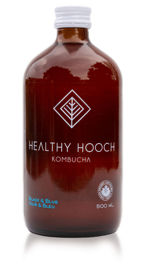 product bottle of black and blue healthy hooch kombucha flavour