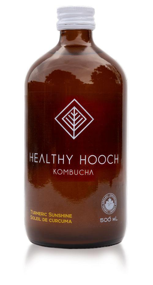 product bottle of the turmeric sunshine healthy hooch kombucha flavour