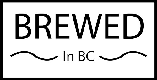 brewed in bc decal in black and white