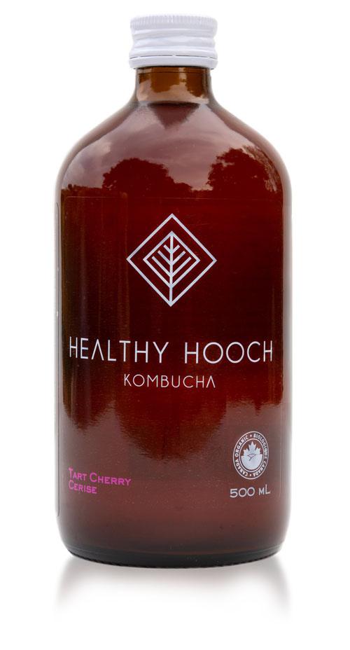product bottle of healthy hooch tart cherry kombucha flavour