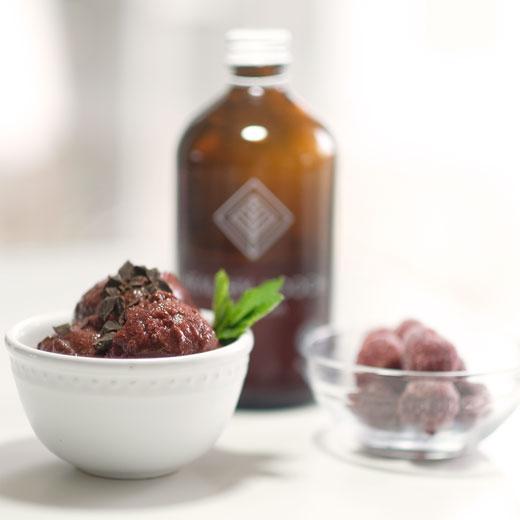 bowl of chocolate cherry sorbet